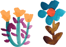 Picture of two watercolor flowers one orange and one blue