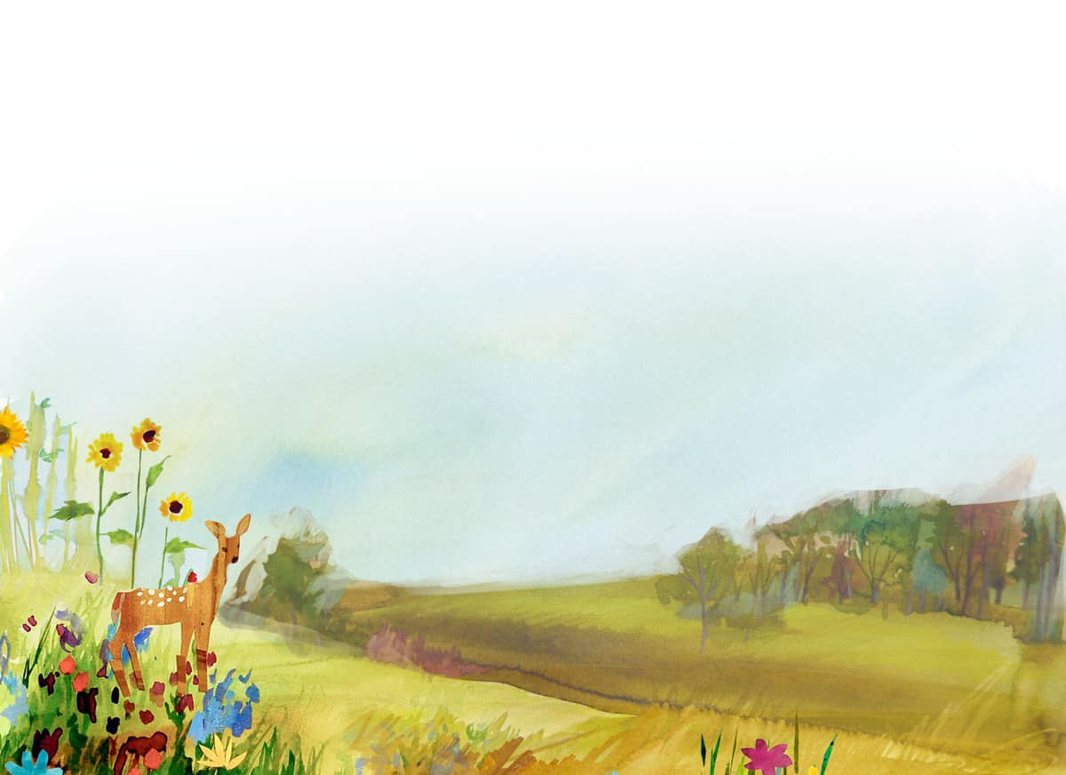 watercolor background - meadow with flowers